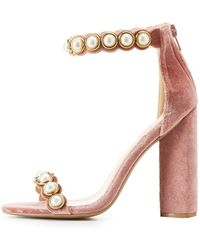 Charlotte Russe - Pearl Embellished Two-piece Sandals - Lyst