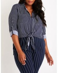 Charlotte Russe - Plus Size Striped Button Up Top - Lyst