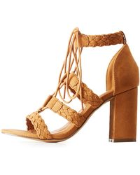 Charlotte Russe - Braided Lace Up Sandals - Lyst