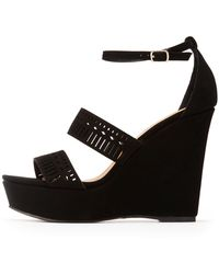 Charlotte Russe - Laser Cut Wedge Sandals - Lyst