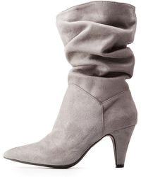 3f67038c354e Lyst - Charlotte Russe Qupid Star Embossed Ankle Booties in Brown