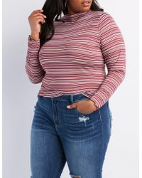Charlotte Russe - Plus Size Lettuce-trim Striped Top - Lyst