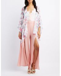 Charlotte Russe - Floral Bell Sleeve Kimono - Lyst