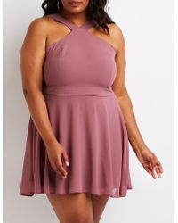 1bffcee2c7f Lyst - Charlotte Russe Plus Size Shimmer Knit Keyhole Bodycon Dress ...