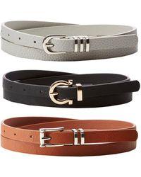 Charlotte Russe - Horseshoe Skinny Belts - 3 Pack - Lyst
