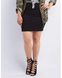 3dd0c09b3dfca Lyst - Charlotte Russe Plus Size Bodycon Mini Skirt in Gray