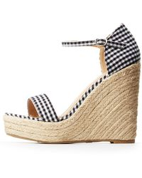 Charlotte Russe - Gingham Espadrille Wedge Sandals - Lyst