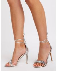 Charlotte Russe - Crystal Ankle Strap Sandals - Lyst