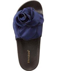 Charlotte Russe - Bamboo Satin Flower Slide Sandals - Lyst
