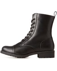 Charlotte Russe - Lace-up Combat Boots - Lyst
