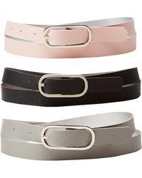 Charlotte Russe - Reversible Skinny Belts - 3 Pack - Lyst