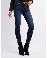 Charlotte Russe - Refuge O-ring Frayed Hem Skinny Jeans - Lyst