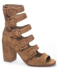 Chinese Laundry Twilight Suede Peep Toe Bootie - Brown