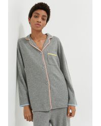 Chinti & Parker Grey Piped Cashmere Pyjama Top - Gray