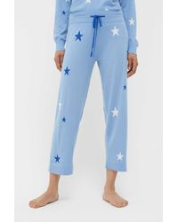 Chinti & Parker Blue Star Intarsia Cashmere Cropped Lounge Trousers