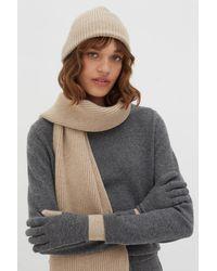 Chinti & Parker Colour-block Cashmere Gloves - Grey