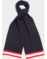 Chinti & Parker Navy Engineered Ribbed Scarf - Blue