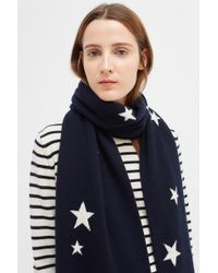 Chinti & Parker Navy Cashmere Star Scarf - Blue