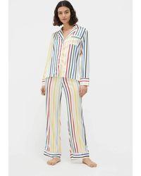 Chinti & Parker Rainbow Striped Silk Pyjama Set - Multicolour