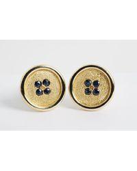 Chorost & Co. Cartier 18k Yellow Gold & Sapphire Button Cuff Links - Metallic