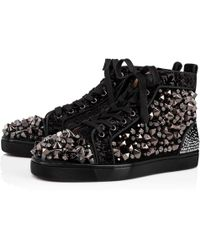 0ec9d511186b Christian Louboutin - Men s Louis Mix Mid-top Spiked Leather Sneakers - Lyst