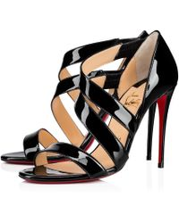 613fced937b7 Lyst - Christian Louboutin World Copine Patent Leather Sandals in Black