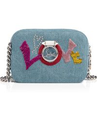 Christian Louboutin - Rubylou Mini Blue And Multicolor Denim Canvas And Sequins - Lyst