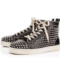 8bc41dc3c301 Lyst - Christian Louboutin Louis Flat Spike High Top Sneaker in ...