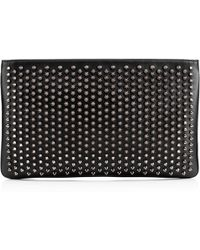 Christian Louboutin - Loubiposh Spiked Textured-leather Clutch - Lyst