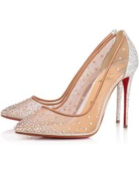 b717557e22 Christian Louboutin Follies Strass Mixed Red Sole Flats in Natural ...
