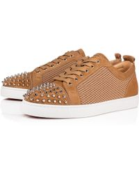 Christian Louboutin - Louis Junior Spikes Veau Velours/jacquard 3d Kraft/metal Colombe Fabric And Calfskin - Lyst