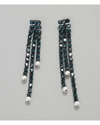 Christopher Kane Crystal Cupchain & Pearl Earrings - Blue