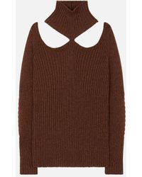 Christopher Kane Cut Out Shoulder Knitted Sweater - Brown