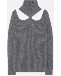 Christopher Kane Cut Out Shoulder Knitted Sweater - Grey