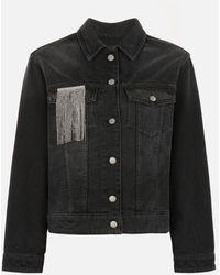 Christopher Kane Crystal Fringe Denim Jacket - Black