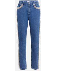 Christopher Kane Embellished Side-stripe Jeans - Blue