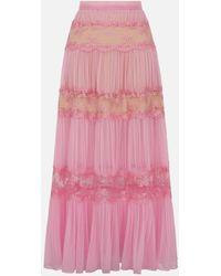Christopher Kane Gathered Trim Mesh Skirt - Pink