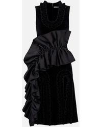 Christopher Kane Velvet Cutout Frill Dress - Black