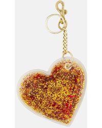 Christopher Kane Glitter Heart Keyring - Metallic