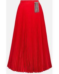 Christopher Kane Crystal Fringe Pleated Skirt - Red