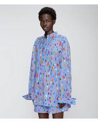 Christopher Kane Paint Smudge Cotton Shirt - Blue