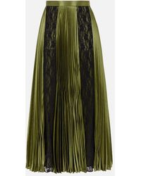 Christopher Kane Lace Paneled Pleated Skirt - Green