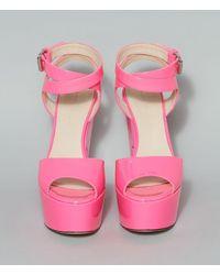 Christopher Kane Neon Leather Platform Sandals - Pink