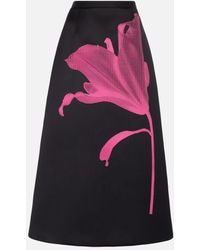 Christopher Kane Anthomania Flower-print Satin Midi Skirt - Black