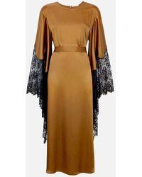 Christopher Kane Satin And Lace Kimono Dress - Brown