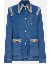 Christopher Kane Crystal-trimmed Point-collar Denim Jacket - Blue