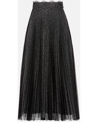 Christopher Kane Glitter Tulle Pleated Skirt - Black