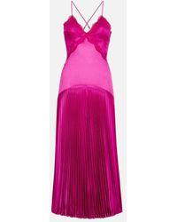 Christopher Kane Lace Slinky Jersey Pleated Dress - Pink