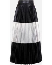 Christopher Kane Pleated Two-tone Crinkled-lamé Maxi Skirt - Black