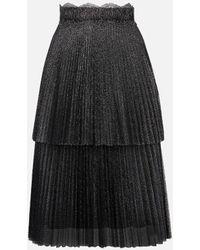 Christopher Kane Glitter Tulle Tiered Pleated Skirt - Black